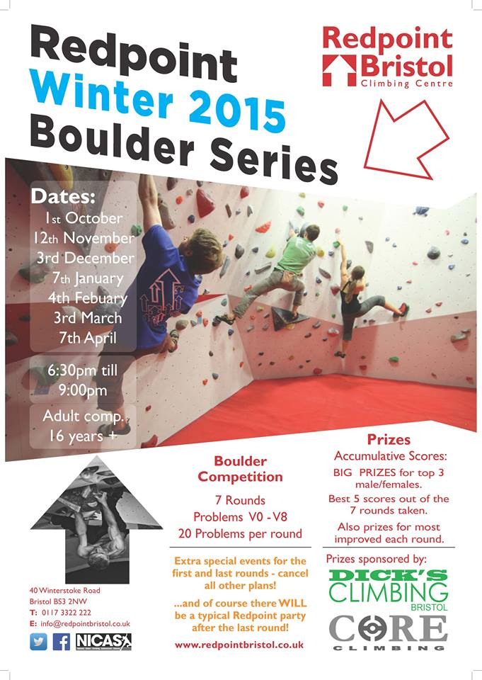 Redpoint climbing winter comp flyer
