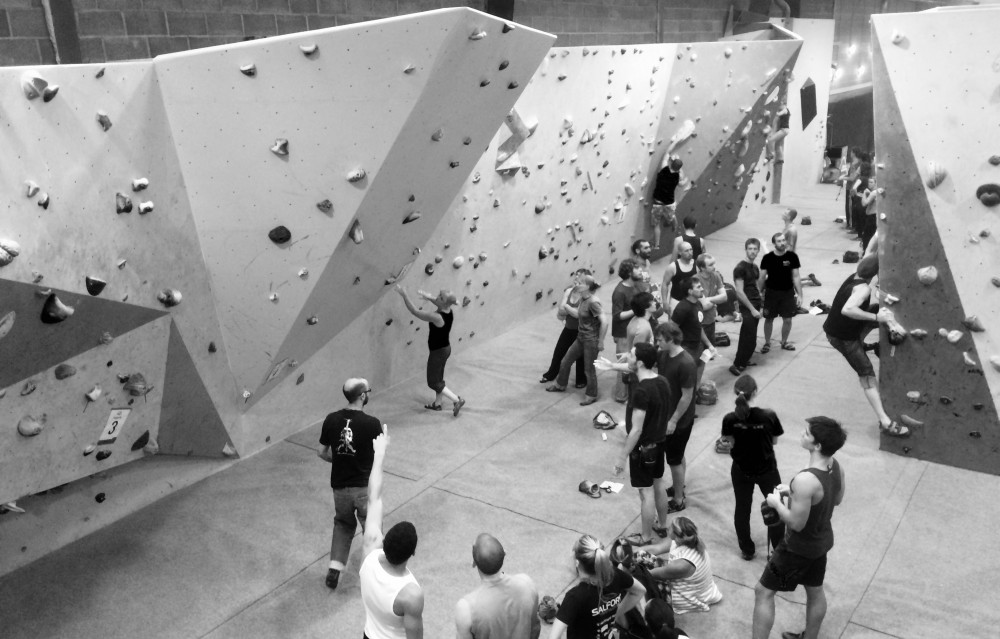 Inside view of climbing in Bloc climbing centre Bristol